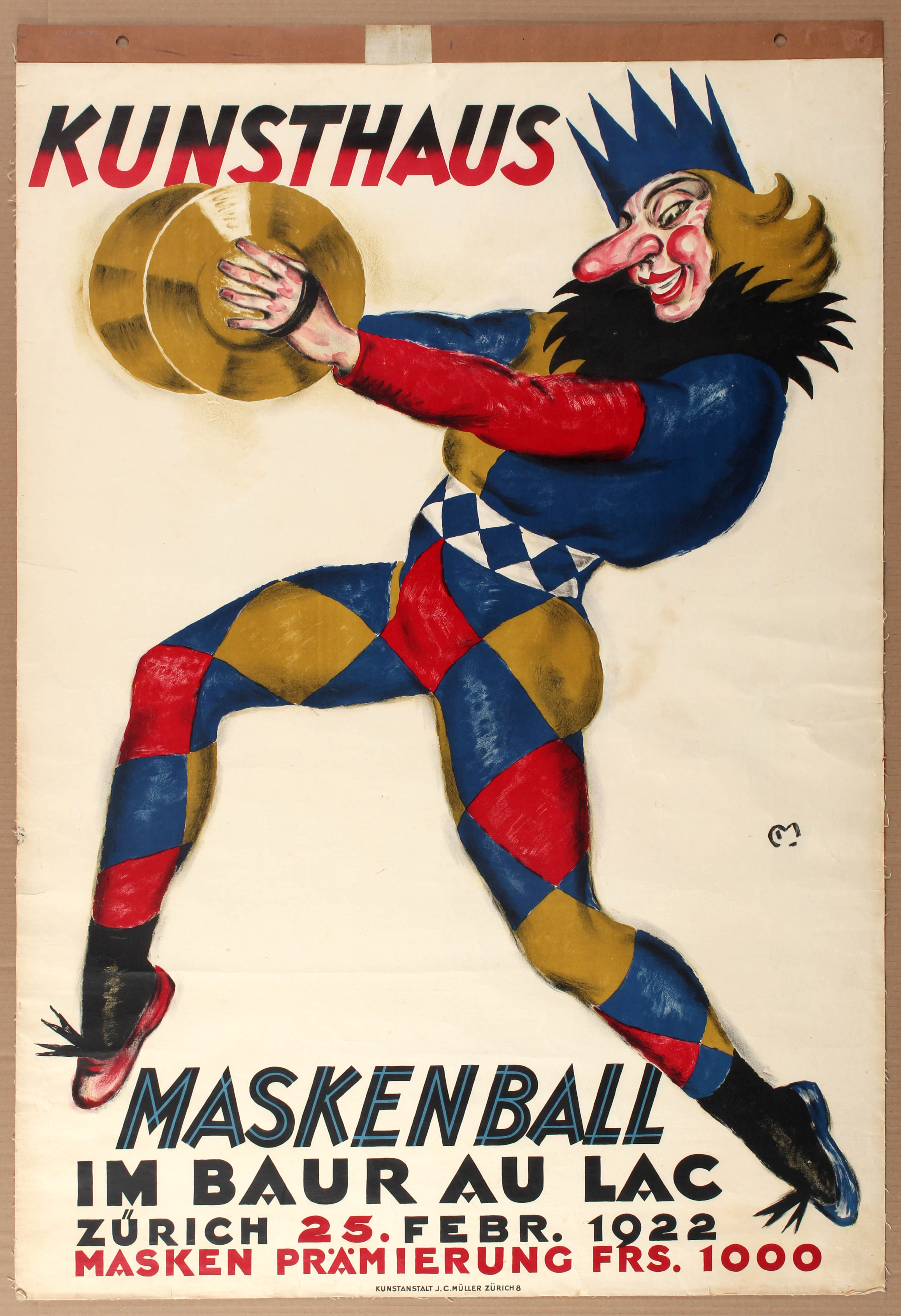 Lot 1201 - Advertising Poster Maskenball Zurich Carl Moos