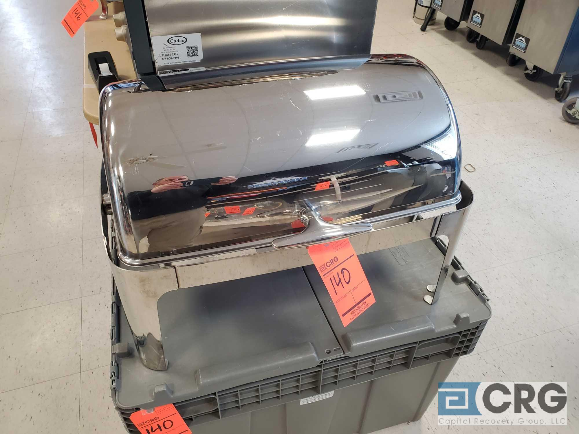 Stainless steel roll top chafing dish, with plastic storage tub