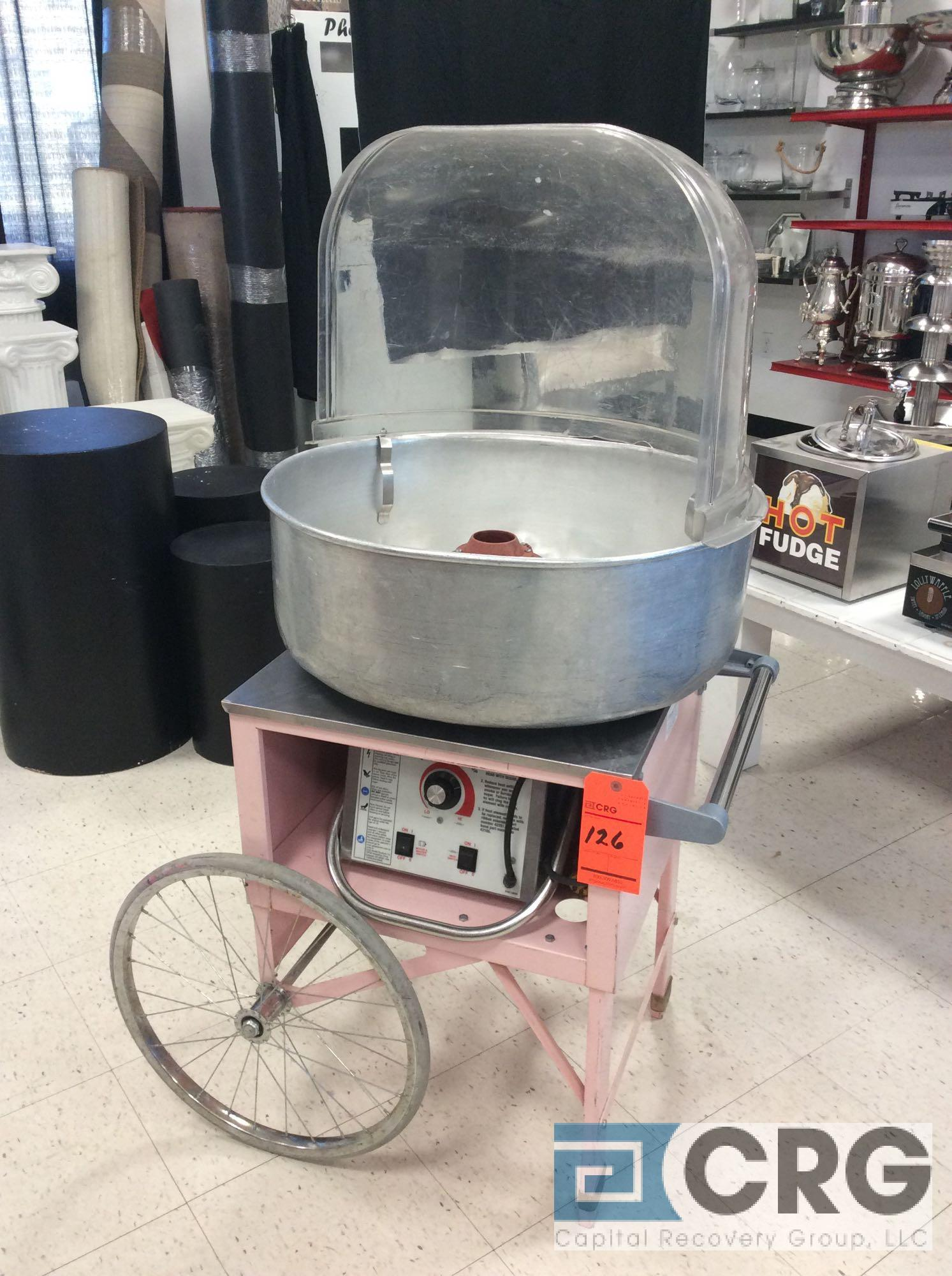 Econo Floss 3017SR cotton candy machine with portable cart