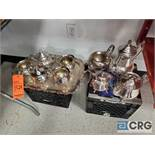 Lot of ass't stainless steel and sliver plated pitchers, creamers, and sugar bowls