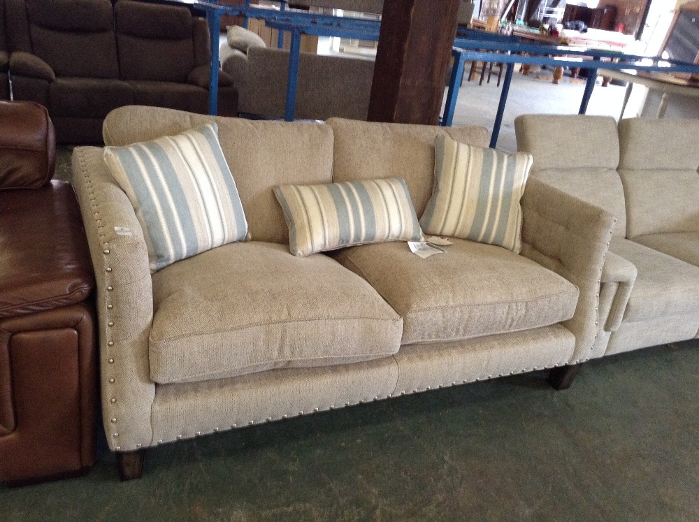 Francesca biscuit 2 seater sofa with gold studs 152 for Sofa with studs