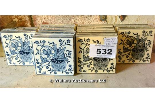 A Set Of Twenty Five Bird Design Minton Tiles In Blue And Black Each Tile 100 X