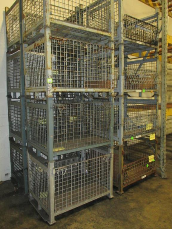 Lot 137 - Lot: (16) Stackable Metal-Wire Containers. HIT# 2188131. Building 1. Asset(s) Located at 1578