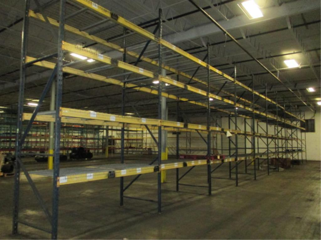 Lot 149 - Lot: (4 Tier, 11 sections) Warehouse Pallet Racking, T-Bolt Style. Consisting of: (12) Upright