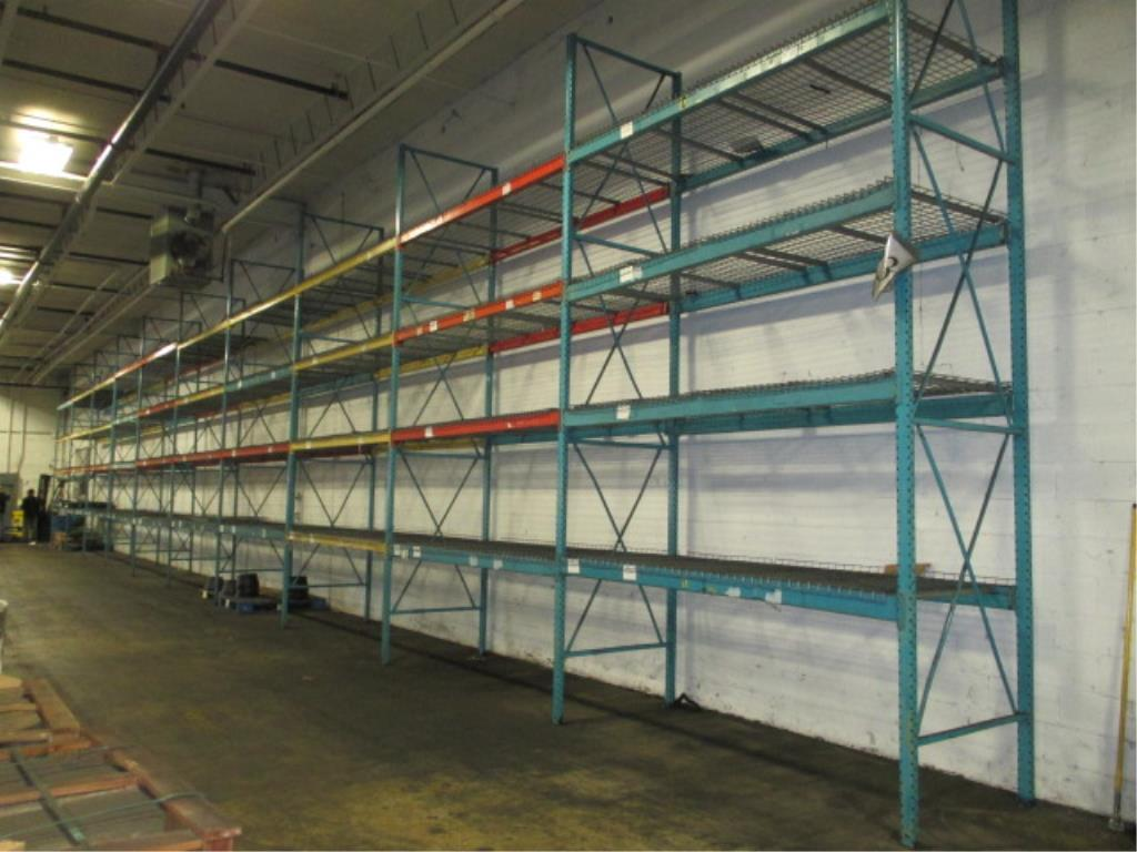 Lot 159 - Lot: (4 Tier, 10 sections) Warehouse Pallet Racking, Redirack Style. Consisting of: (11) Upright