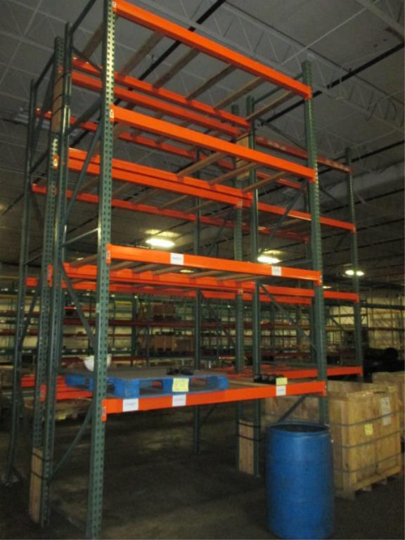 Lot 151 - Lot: (4 Tier, 3 sections) Warehouse Pallet Racking, Teardrop Style. Consisting of: (5) Upright