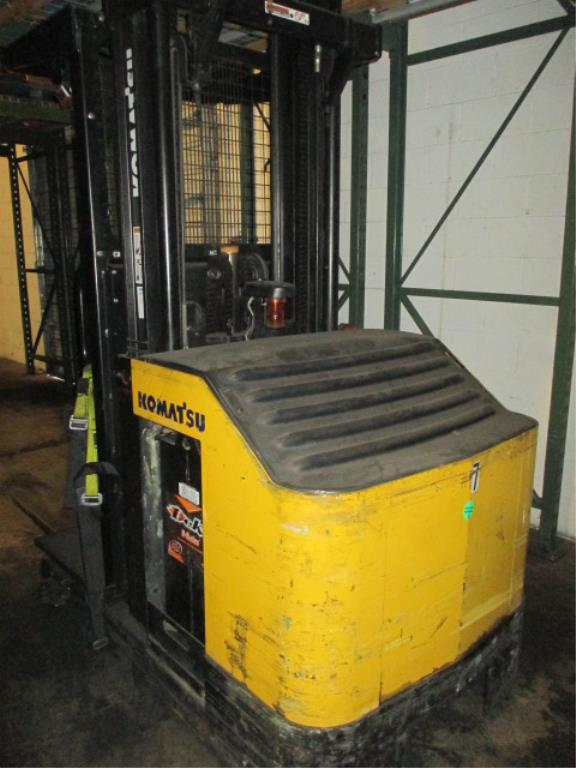 Lot 110 - Komatsu MPF15-2A 3-Wheel Electric Narrow-Aisle Order Picking Truck, Triple-Stage Mast with 3.5ft