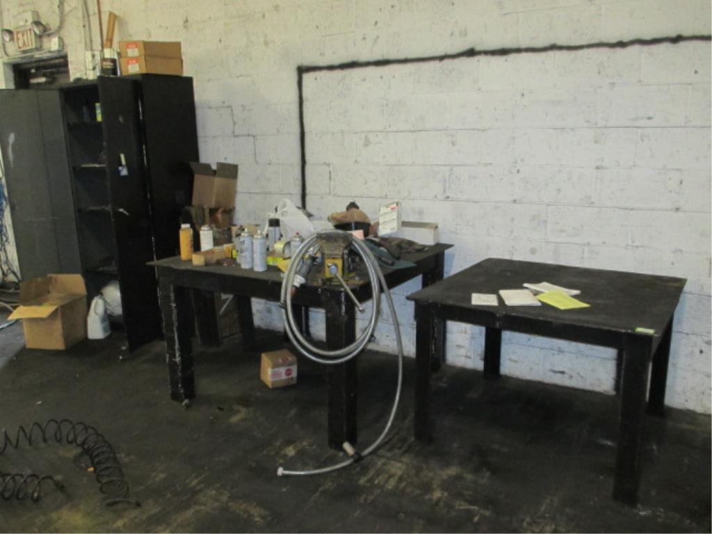 Lot 135 - Lot: (2) Metal Tables with Storage Cabinet. 4ft x 4ft and 40in x 40in. Includes Vise. HIT# 2188129.