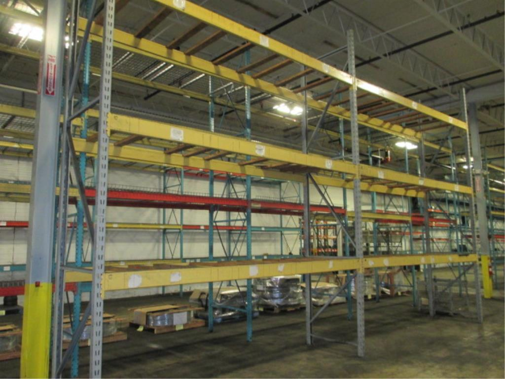 Lot 155 - Lot: (2 Tier, 2 sections) Warehouse Pallet Racking, Slotted Angle Style. Consisting of: (3) Upright