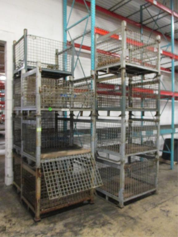 Lot 136 - Lot: (12) Stackable Metal-Wire Containers. HIT# 2188130. Building 1. Asset(s) Located at 1578