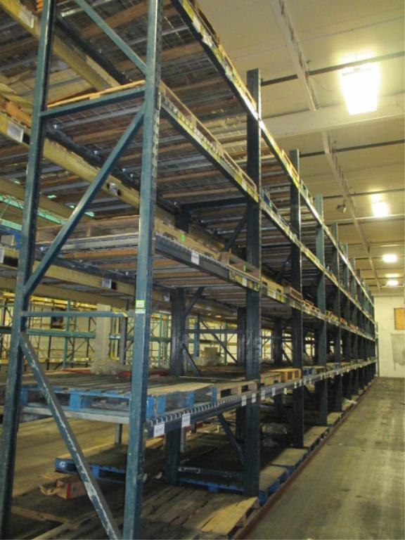 Lot 146 - Lot: (4 Tier, 12 sections) Warehouse Pallet Racking, T-Bolt Style. Consisting of: (1) Upright