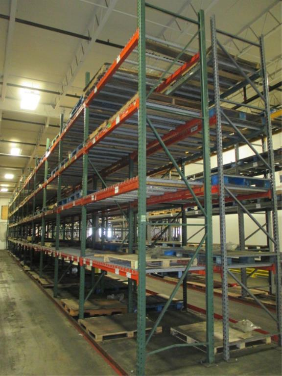 Lot 144 - Lot: (4 Tier, 22 sections) Warehouse Pallet Racking, Teardrop Style. Consisting of: (28) Upright