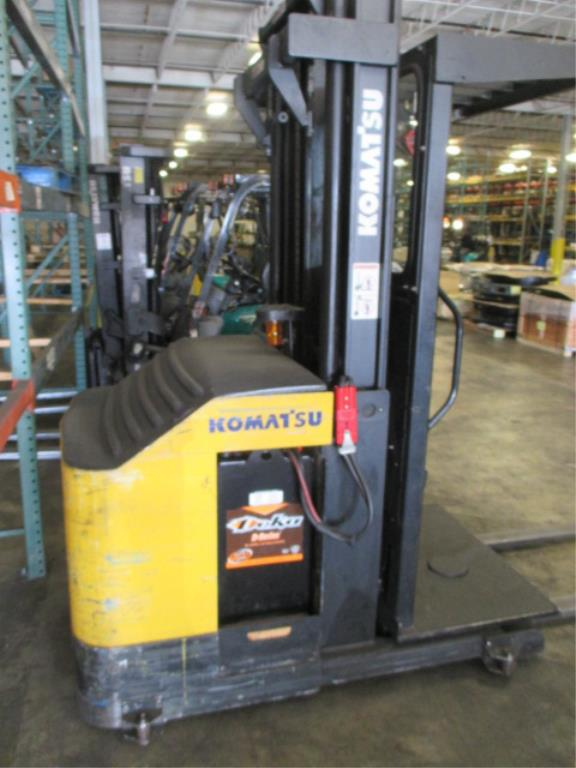 Lot 109 - Komatsu MPF15-2A 3-Wheel Electric Narrow-Aisle Order Picking Truck, Triple-Stage Mast with 3.5ft