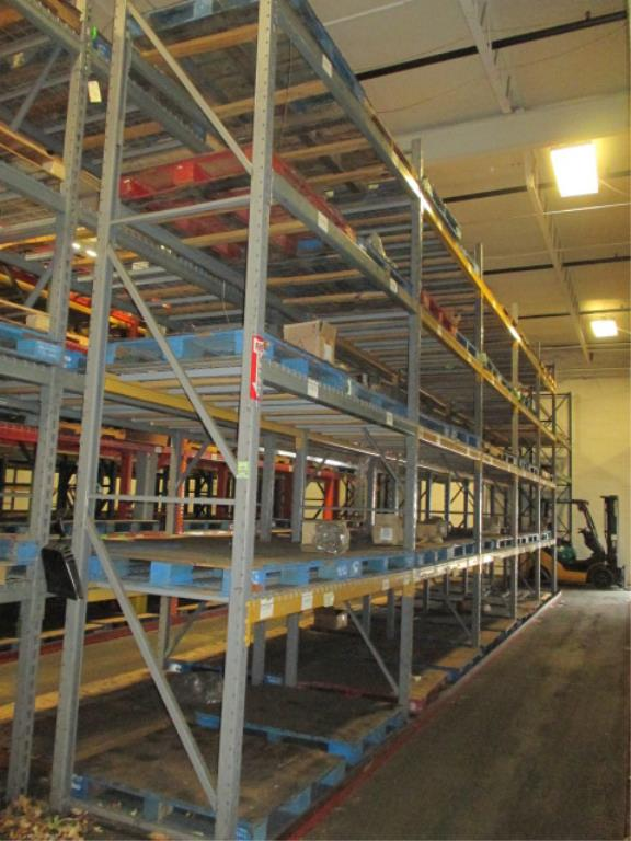 Lot 141 - Lot: (4 Tier, 6 sections) Warehouse Pallet Racking, Slotted Angle Style. Consisting of: (8) Upright