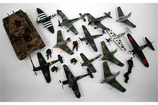 unimax toys. a unimax toys limited die cast model tank and collection of model aeroplanes unimax toys d