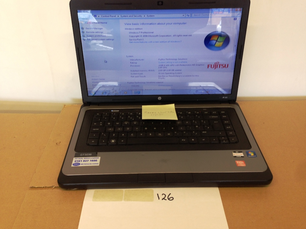 HP 635 laptop Windows 7 factory reset 300Gb 1 65GHz no PSU