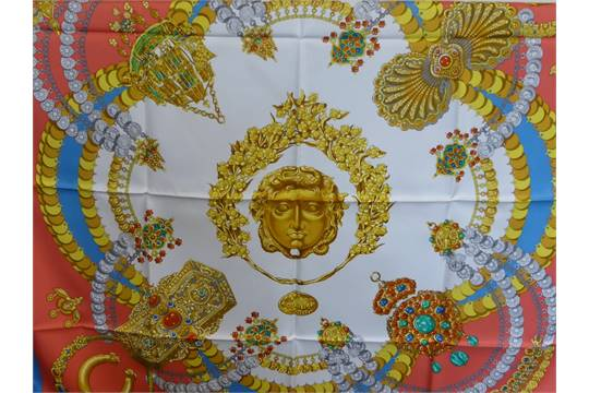 A Lady  39 s Hermes Silk Scarf design  quot Kosmima quot  by J. A. ... cf58792ada5