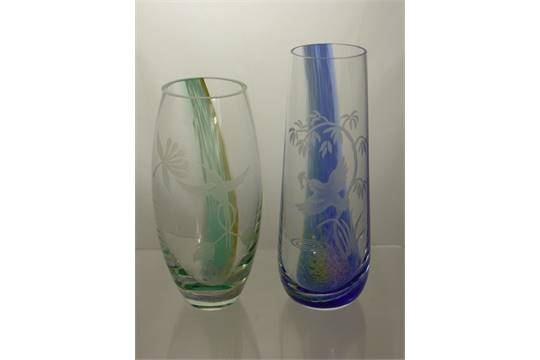 Two Caithness Glass Vases One With Green And Gold Inserts And