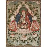 AN 18th CENTURY THANGKA OF GURU RINPOCHE IN ZANGDOK PALRIDistemper and gold paint on cloth, framed