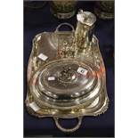 A group of silver plated ware including a large tr
