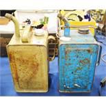 A vintage Esso blue parrafin container and a Valor