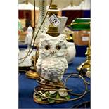 A Continental glazed pottery lamp of a white owl,