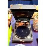 A Salon Decca gramophone, within case