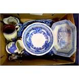 An assorted group ceramics, including four blue an