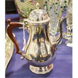 A silver plated Barker Ellis coffee pot with resin