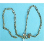 Two 9ct gold chain bracelets, 5.3g, (2).