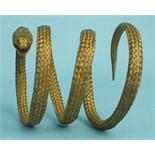 A silver gilt wire mesh snake bracelet, 64cm long, 28g.