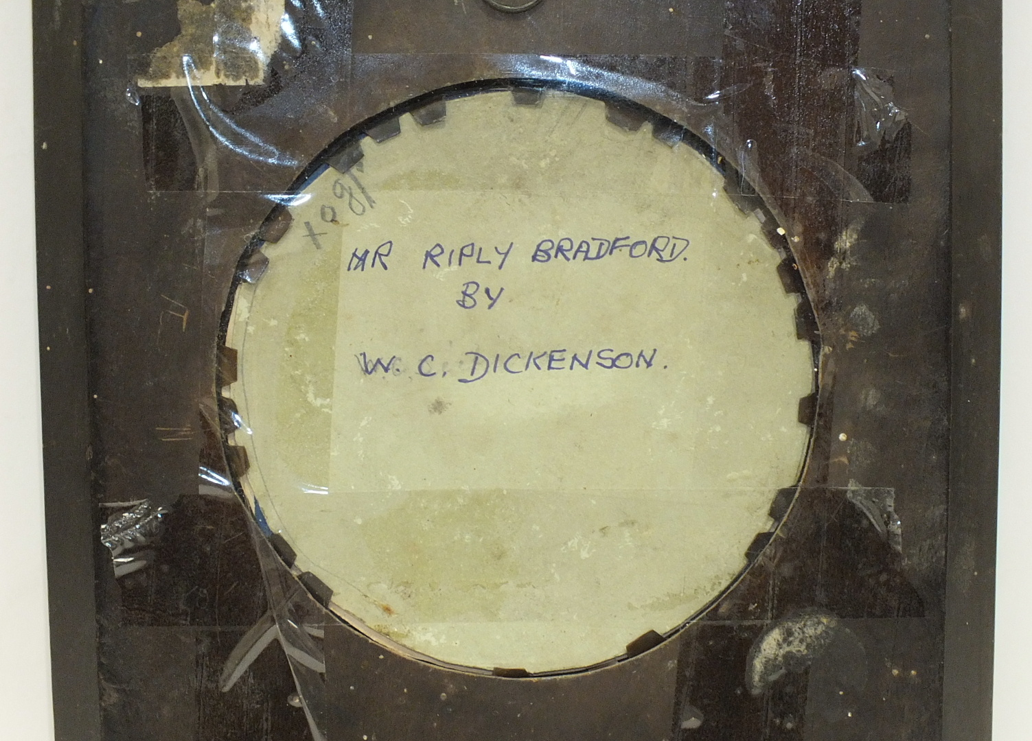 A late-Victorian/Edwardian miniature study of a gentleman 'Mr Riply, Bradford', in circular wooden - Image 3 of 5