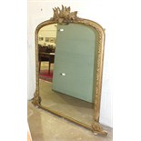 A Victorian gilt gesso overmantel mirror, the frame applied with fern leaves, 111cm x 150cm high.
