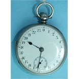 An unusual Victorian silver-cased key-wind open-face pocket watch, the white enamelled dial numbered