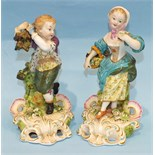 A pair of mid-19th century Derby porcelain figures of the seasons, being Summer and Autumn,