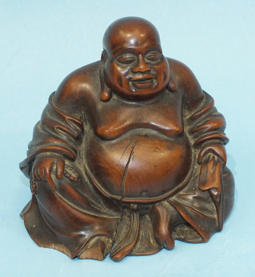 A large 19th century Chinese carved wood figure of a portly Poutai, seated and with a bat on his - Image 4 of 6