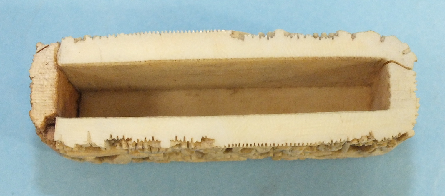 A 19th century Chinese ivory card case deeply-carved with figures in rural pursuits and garden - Image 11 of 11