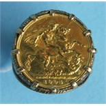 A 1904 Edward VII sovereign in 9ct gold ring mount, size W, 16.8g.