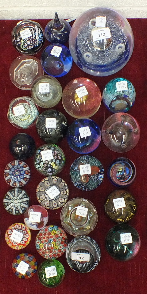 A large group of twenty-eight glass paperweights, including three dated examples: 2 x Jubilee 1977