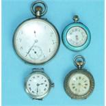 A silver-cased keyless open-face pocket watch, a silver-cased wrist watch, a ladies enamelled