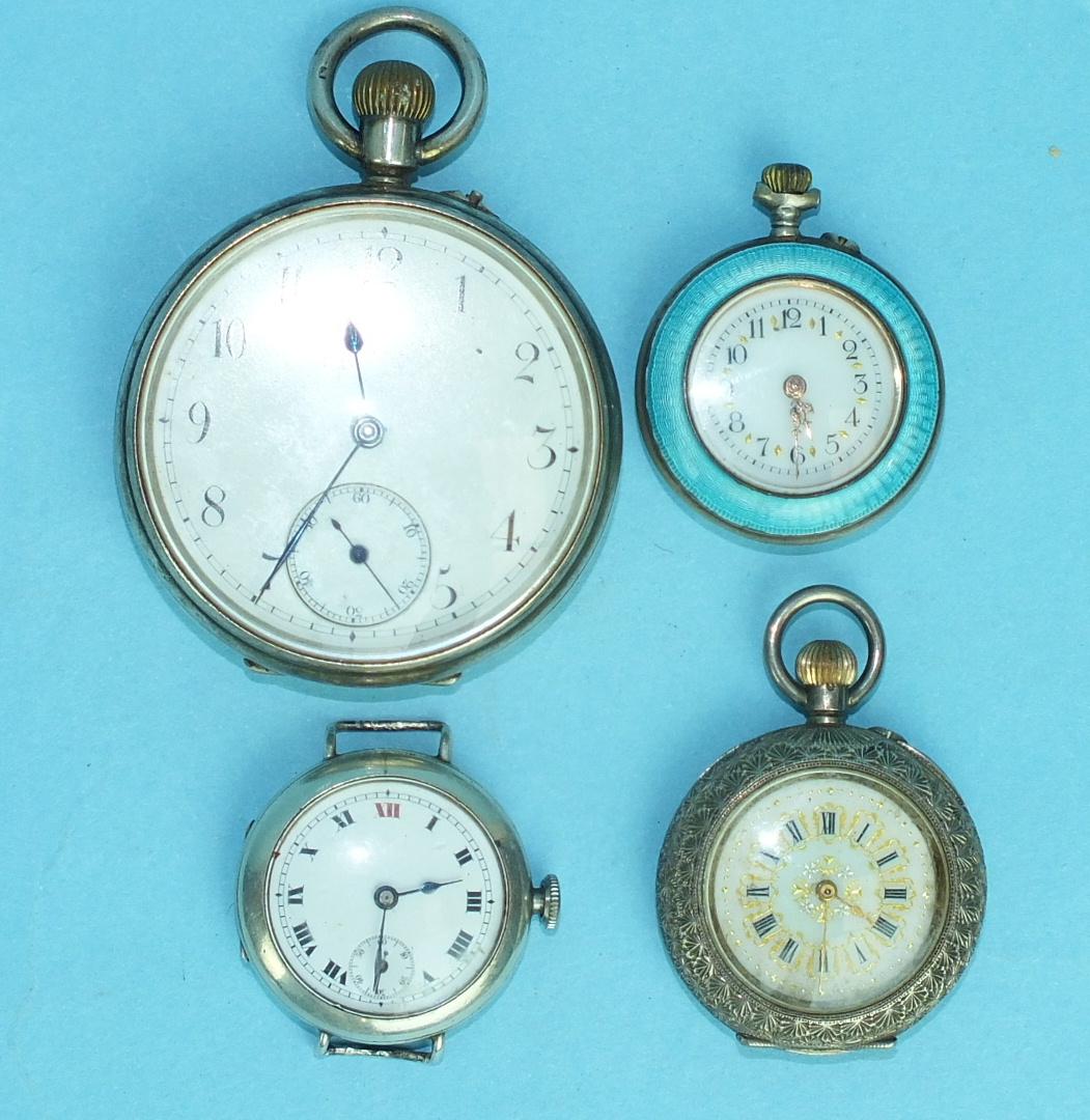 Lot 154 - A silver-cased keyless open-face pocket watch, a silver-cased wrist watch, a ladies enamelled
