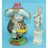 A small late-18th century Derby porcelain figure of a Cupid with his bow standing on a pedestal,