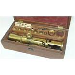 A late-Victorian 'Large Improved Compound' monocular travelling microscope, in fitted box with