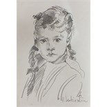 R O Lenkiewicz, a signed pencil sketch on paper, portrait of a young girl, 42.5 x 29.5cm and another