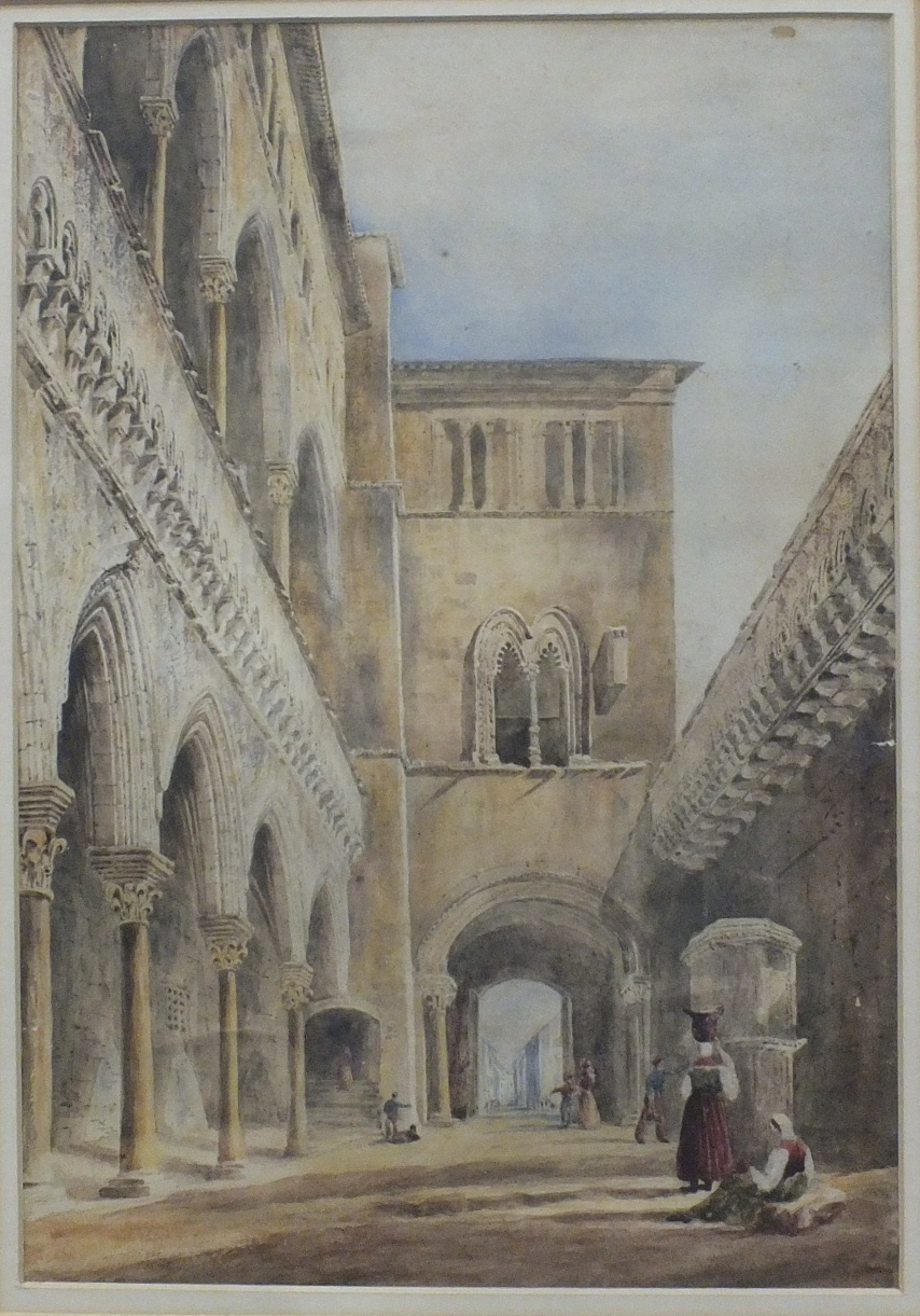 19th century Continental School CATHEDRAL CLOISTERS Unsigned watercolour, 40 x 27.5cm and an early-