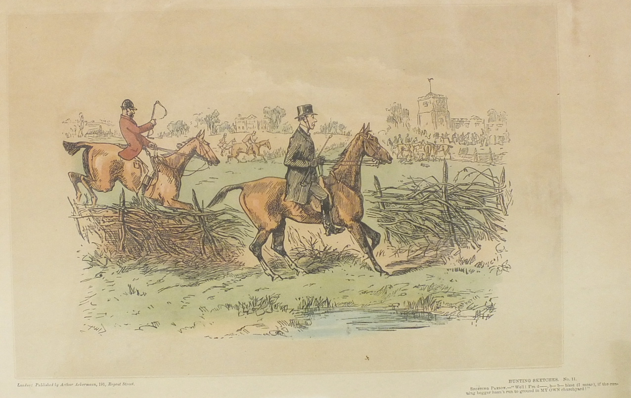 After H Alken, 'Fox Hunters', four framed coloured prints, each 25.5 x 33cm and another