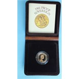 A Royal Mint 1981 proof sovereign, in case.