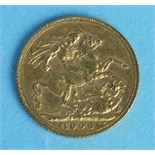 A 1906 Edward VII sovereign.
