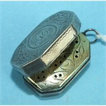 A Georgian silver vinaigrette of octagonal form, the lid with engraved monogram and decoration,