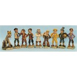 Nine Will Young 'Widecombe Fair' novelty pottery figures, Bill Brewer, (damaged), Jan Stewer,